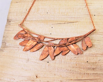 Electroformed Real Leaves on Curved Branch Copper Necklace O13