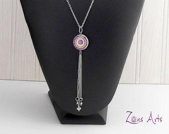 """Crown Chakra Necklace, Purple Chakra, Chain Stainless, Tassel 3""""(7.2 cm), Heart-shaped Pendants, Original Drawing Chakra Mandala"""