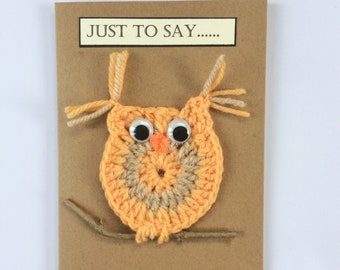 Handmade crocheted owl birthday card.