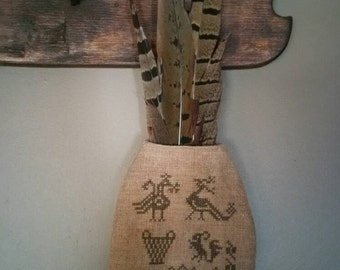 Primitive Folk Art Sampler Symbols Hanging Pouch