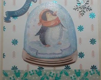Merry Christmas, Penguin snowball card 3D