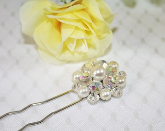 Sparkly Crystal and Faux Pearl Hair Pin Sparkly Wedding Hair Pin Sparkly Hair Jewelry Perfect for any Occasion