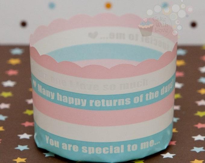 Blue Pink White Stripe Muffin Cups