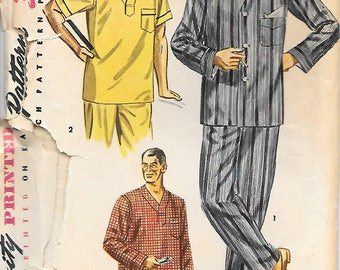 Small and Large-Simplicity 4108 1950s Men's Classic Pajamas and Nightshirt Vintage Sewing Pattern