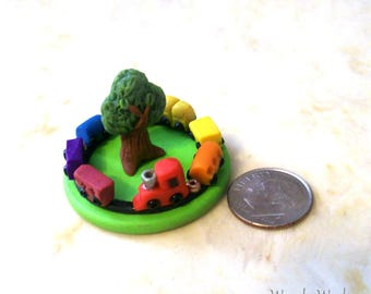 Dollhouse Toy Micro Tiny Train Set Artisan Hand Sculpted Miniature 12th Scale Hand Sculpted Childs Room Play Train Set Rainbow Colors