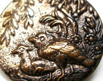 "1800s BIRDS button, Antique Victorian brass with scenic design, 3/4""."