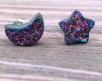 Druzy star and moon earrings