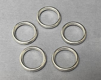 20 Pc Round Pewter Rings 17mm Antique Silver Finish , 17mm silver closed rings - PBF275