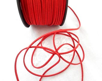 Suede 3 mm red color.