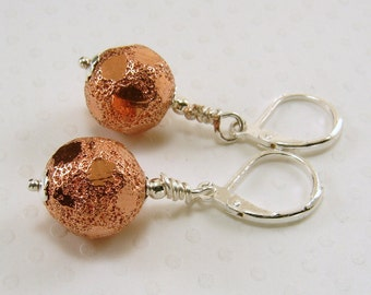 Mixed Metal Earrings, Copper and Silver Earrings, Silver and Copper Earrings