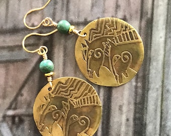 Two Golden Horses Etched Earrings with Turquoise Nuggets