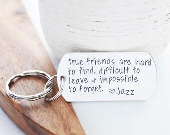 Best Friend Keychain - True Friendship Knows No Distance - Friendship Keychain - BFF Keychain - BFF Gifts - Long Distance Relationship LDR