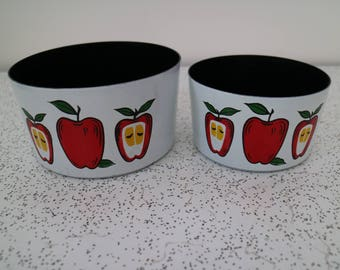 little red apples...pair of 1970s vintage melamine dishes