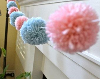 Pom pom garland, yarn, nursery garland, birthday decor, garland, baby shower, baby, gender reveal, girl, boy , pom pom