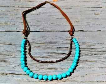 Suede Necklace With Turquoise Beads