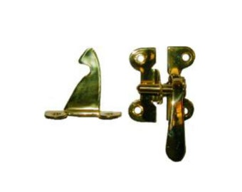 Brass Latch - Polished Brass McDougall Style Right Hand Offset Cabinet Latch - McDougall Cabinet