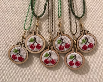 Cross stitch necklace / Cross Stitch - cherry.