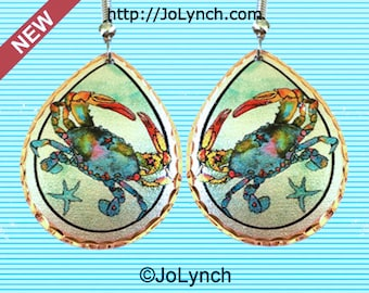 Crab Earrings Colorful Blue Crab Art Earrings