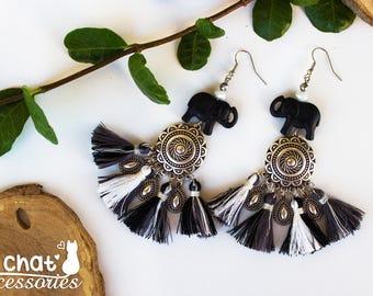 Mothers day gift, Elephant earrings, Bohemian earrings, Gypsy style, Statement earrings, Fringe earrings, Ethnik earrings, Tassel earrings