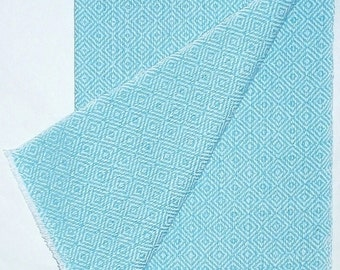 handwoven Diamonds towel, aqua on white