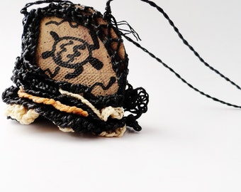 Fiber Pottery Necklace,Turtle, Spiral, Lacy Ruffled Necklace, Black , Mustard, Ecru Bone, Brown, Petroglyph, Pictograph PF2