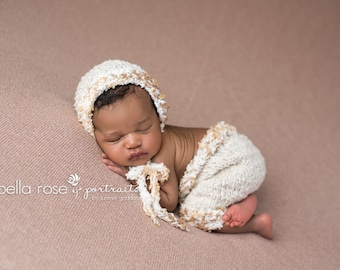 Boy Pants Bonnet Set Newborn Photo Prop Baby Neutral Romper Dungarees Hand Knit Going Home Ready Ship Outfit Hat Knitted Infant Photography