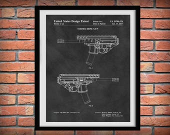 2017 Sig Sauer Submachine Gun Patent Print - Rifle Poster -  Weapon - Gun Enthusiast Gift - Semi-Automatic Assault Rifle