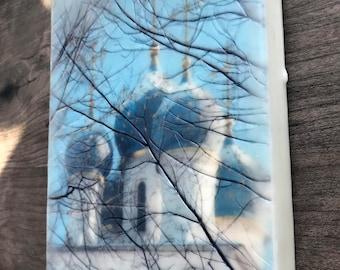 Kolomenskoe Blue Onion Domes. Encaustic Photography. Russia.