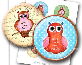Watercolor Owls  2.5 inch circles digital download. Printable images for pocket mirror, tags.