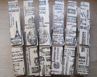 assorted french market clothes pins lot of 6