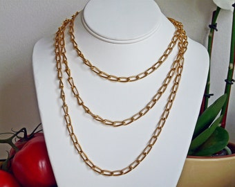 Vintage Crown Trifari long 12K gold plated 55 inch chain