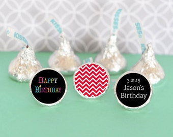 Hershey Kiss Labels / Birthday Party Favor / Stickers for Candy Kisses / Personalized Hershey Kiss Favor Labels (set of 108)