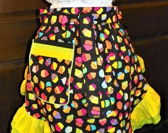 Fun, Flirty, Sassy Hostess Waist Apron 23 In Tossed Cupcakes by Nanasaprons Handmade for Fun Cooking Baking Activities