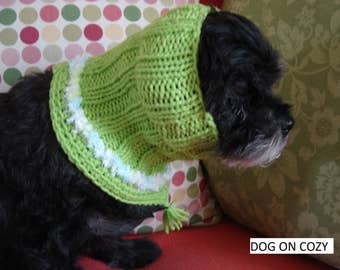 Dog Neckwear with Snood, Pet Cowl Snood, Size SMALL, Lime Snoodie Cowl