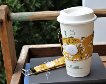 Reusable Coffee Cup Sleeve, Fabric Cup Sleeve, Coffee Cup Cozy, Coffee Cup Sleeve, Yellow/Black Floral Cup Sleeve, Teacher Gift, Coffee Gift