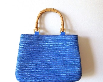 Blue Woven Straw Bag Vintage 1990s St John's Bay Straw Bag Bamboo Handles Structured 90s Classic Summer Vacation Small Medium