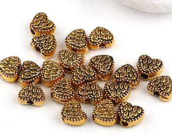 Antique Gold Heart Beads, 20 pieces // BEA-064
