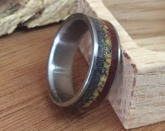 Wedding Band for Men, Meteorite Ring, Mens Titanium Ring, Mens Wedding Ring, Dinosaur Bone Ring, Anniversary Gift, 5th Anniversary Gift