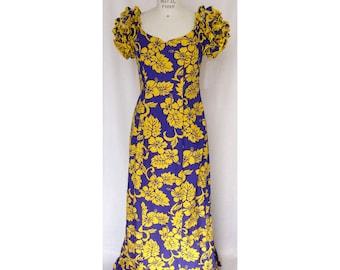 Purple and Yellow Muumuu with Ruffle Sleeves and Bottom - Exclusive Print