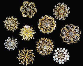 Rhinestone Brooch Button Embellishment  XLARGE Pearl Crystal Wedding Bridal Brooch Bouquet Invitation Cake Decoration