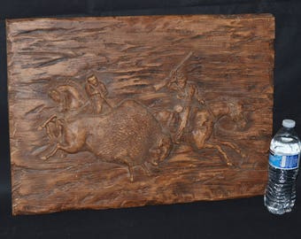eb2685 Rustic Bas Relief Art Object BUFFALO HUNTERS #213 Universal Stat Corp 1972 Vintage Wall Decor Cabin Man Cave