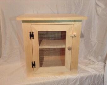 Primitive Pine Wood Counter Top Pie Safe