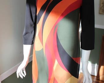 Mod Geometric Polyester Dress Signature by Robbie Bee