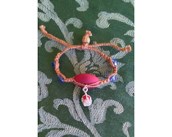 Blue Glass Bead & Red Wrapped Jasper Macrame Bracelet