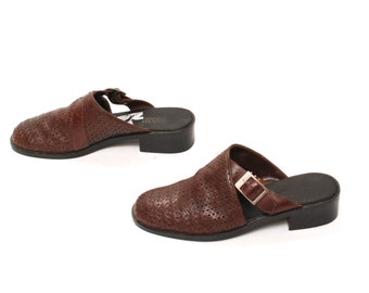 size 8 CLOGS brown leather 80s 90s BUCKLE woven slip on MULES