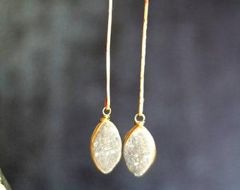 Long White Druzy Earrings Marquise Drops Stick Earrings Linear earrings Bridal wedding earrings Amaretto Drusy quartz under 125
