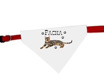 Necklace personalized with name Bengal cat bandana