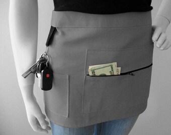 GRAY - Vendor Show Apron Craft Show Vendor Apron Half Apron with Zipper and Key Ring - Hostess Apron