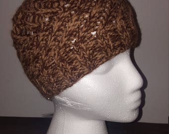 Pattern Brown and Tan Alpaca Hat