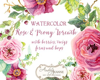 Watercolor Boho Burgundy Floral Wreath Digital Clip Art Clipart, Bohemian, peony flower, Rose Floral, twigs leaves berry raspberry